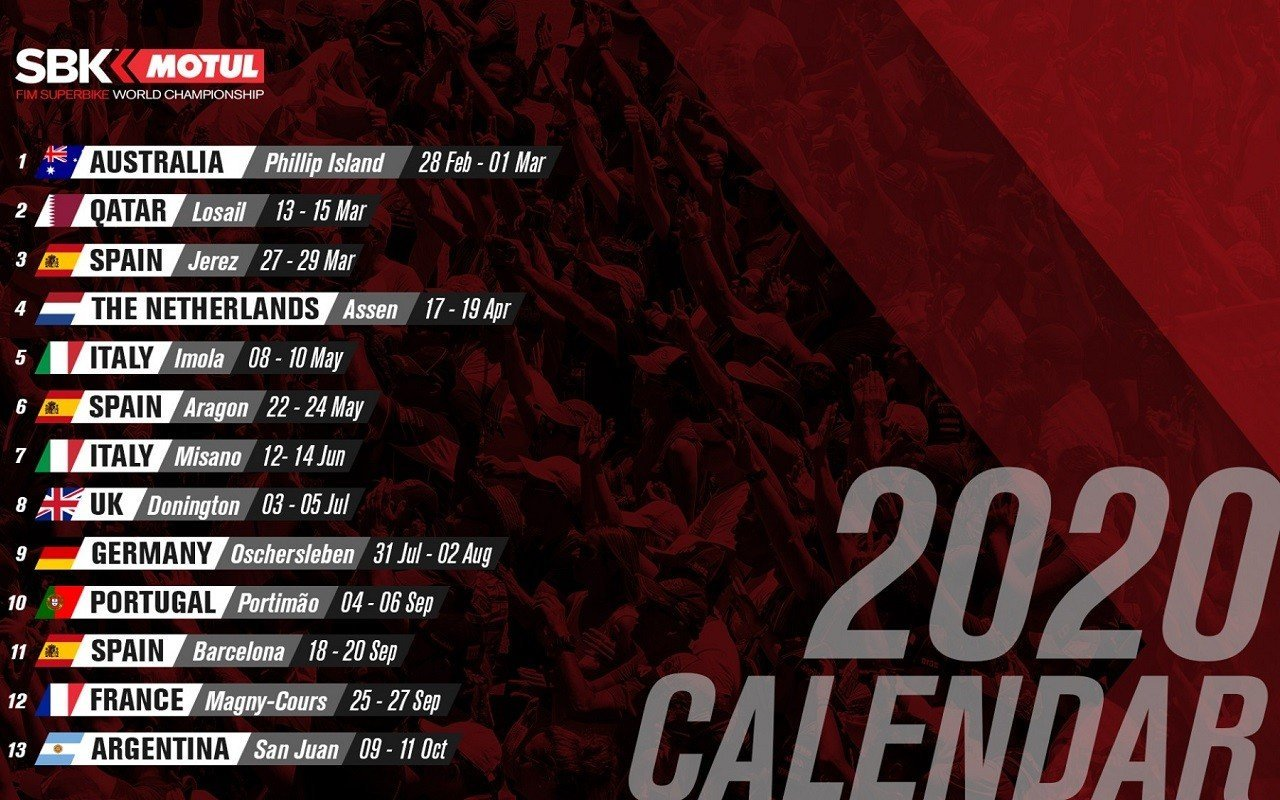 Calendario WSBK 2020